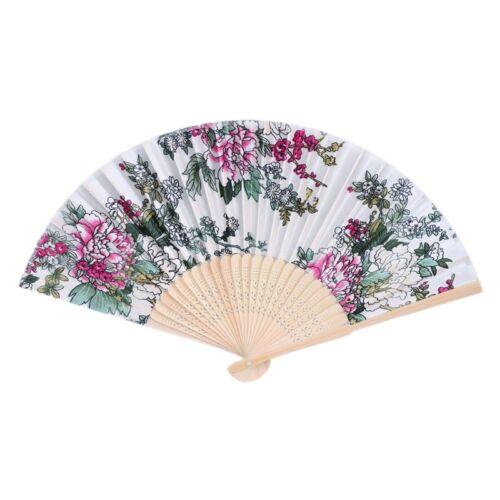 Chinois Bambou pliante Hand Held Fan Fleurs Mariage Dance Party Decor