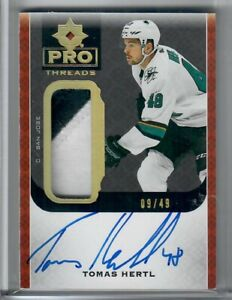 2019-20 Upper Deck ULTIMATE COLLECTION TOMAS HERTL 2 COLOR PRO THREADS AUTO 9-49