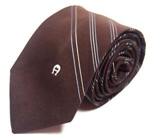 Etienne-Aigner-Mens-Necktie-Tie-Brown-Blue-White-Diagonal-Striped-56-034-Short