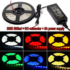 5M Waterproof 3528 5050 SMD 300 LED Strip Rope Lights / DC Connector / 12V Power