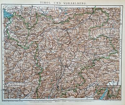 1897 TIROL UND VORARLBERG alte Landkarte Antique Map Lithographie Österreich