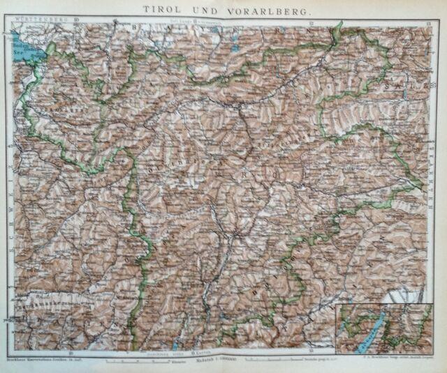 1897 Tirol und Vorarlberg - alte Landkarte antique map Lithographie Österreich