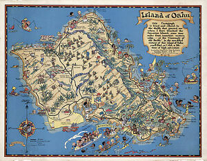 picture about Printable Map of Oahu named Information more than Map Hawaiian Island of Oahu Common Wall Artwork Poster Print Decor Historic Repro