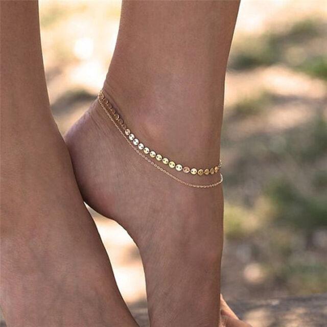 0edc74ab290f9 Women Gold Delicate Bead Double Foot Chain Adjustable Ankle Leg Bracelet  Anklets