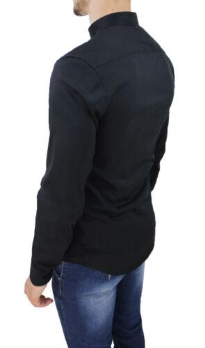 Coreano Slim Elástico Casual Algodón Cuello Negro Con Fit Hombre Camisa q8xnzEz