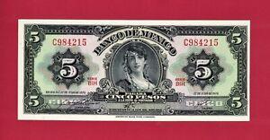 ERROR-Gypsy-Note-5-Cinco-Pesos-1970-Mexico-UNC-034-BIH-034-Note-P-60k-3-Orange-Seal