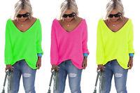 NEON Pink, Gelb Pullover mit V-Ausschnitt Urlaub Einheitsgröße S M L 36 38 40