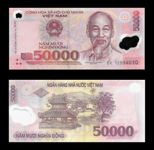 Vietnam-50000-Dong-Polymer-Note-UNC-Vietnamese-Money-Lot-Of-1-Collectible