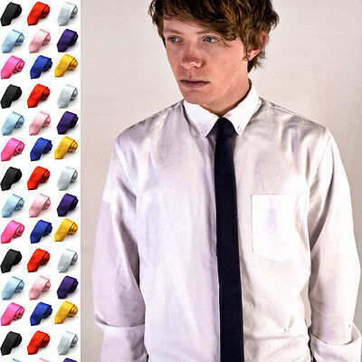 New 1.5 inch Men's Skinny Slim Tie Polyester Narrow Necktie Solid Colors Frm USA