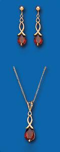 Jewelry & Watches Aggressive Gold Granat Anhänger & Ohrringe Satz Festgelbgold Gekennzeichnet Ohrhänger Moderate Price Fine Jewelry