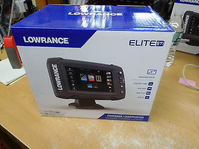 Lowrance ELITE-5 Ti Med/High/ Totalscan Fishfinder 000-12423-001 w/ transducer