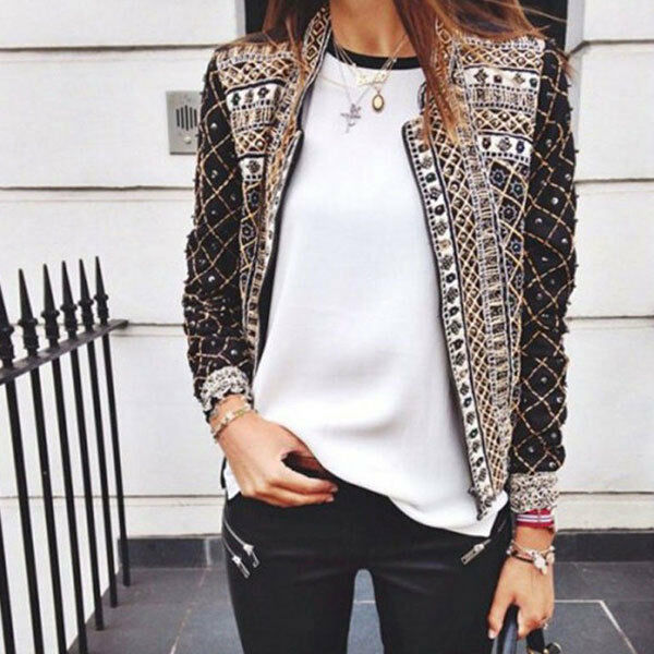 Womens Ladies Print Slim Casual Summer Blazer Suit Jacket Coat Outwear