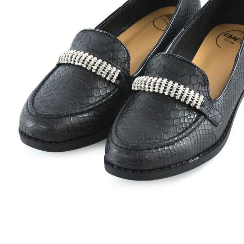 Womens Black Loafers Shoes Ladies Slip On Diamante Office Work School Pumps