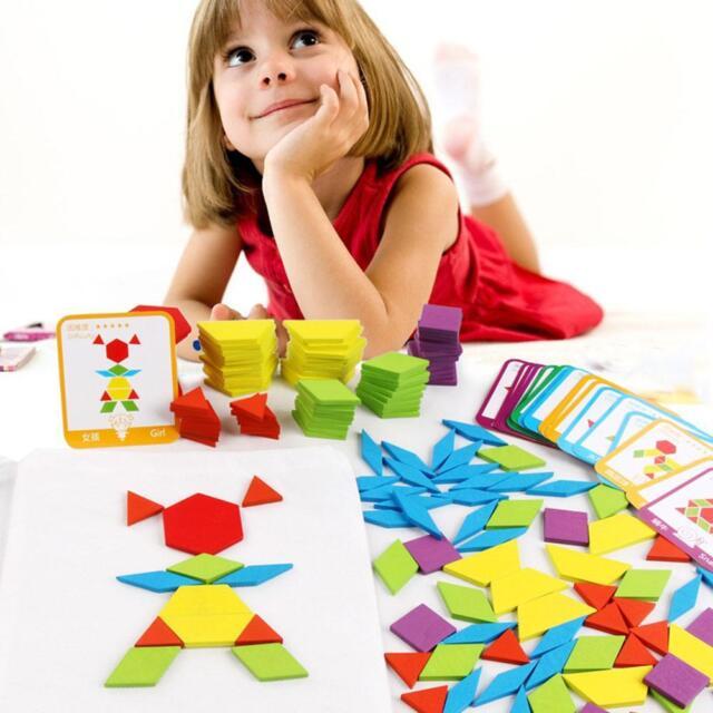 155pcs Kids Wooden IQ Game Puzzle Jigsaw Intelligent Tangram Brain Teaser Toys