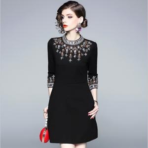 Hot style Autumn aristocratic temperament fashion bead elegant Classy dress S-XL