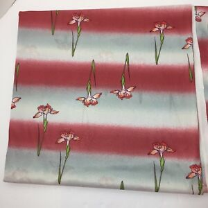 3-Yards-Grey-Rose-Striped-with-Irises-Knit-Fabric-2-Way-Stretch-Polyester-60-034