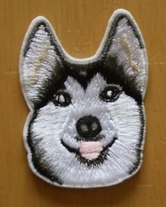Husky Alsatian Patch Embroidered Iron Sew On Applique Badge Dog Wolf