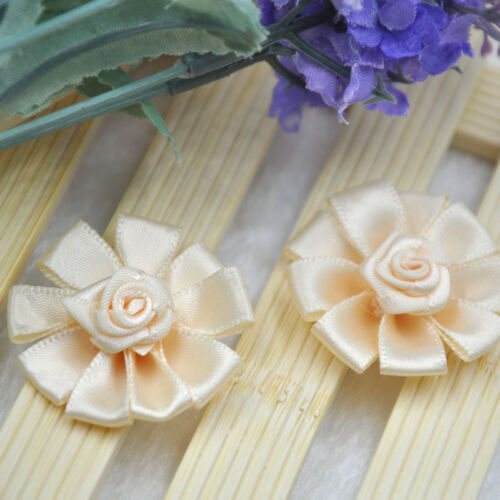 10//20//100 pcs Mix  Satin Ribbon Flowers Bows Craft Sewing Appliques 38mm A310
