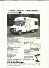 G.T. MOTORISED FLORIDA COACHBUILT MOTORHOME SALES BROCHURE/SHEET LATE 80's?