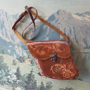 83ac4220a537 Image is loading Vintage-Leather-Tooled-Purse-Asymmetrical-Shoulder-Saddle- Bag-