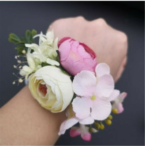 1 Women Girl Wedding Bride Bridemaid Fairy Hand Wrist Flower Corsage Bracelet