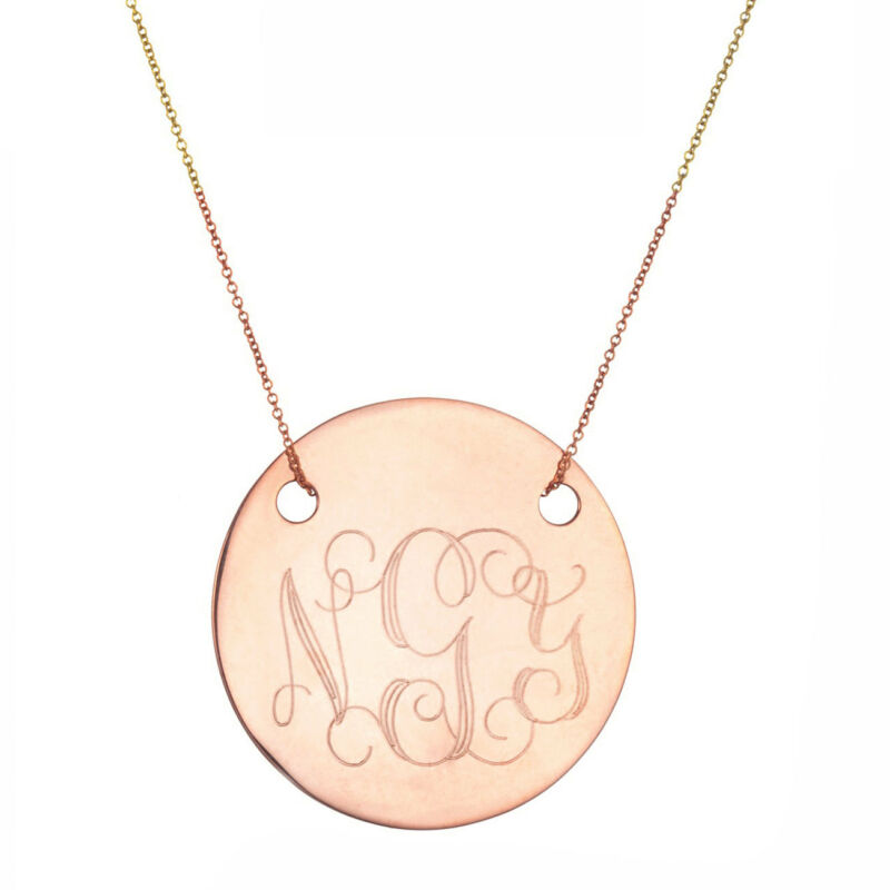 "Handmade Personalize Any Engraving 1"" Disc Necklace In Rose Gold Plated Silver"