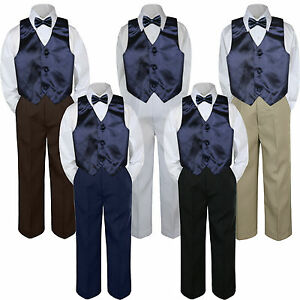 3f8a16f1f 4pc Boys Suit Set Navy Blue Vest Bow Tie Baby Toddler Kids Pants S-7 ...