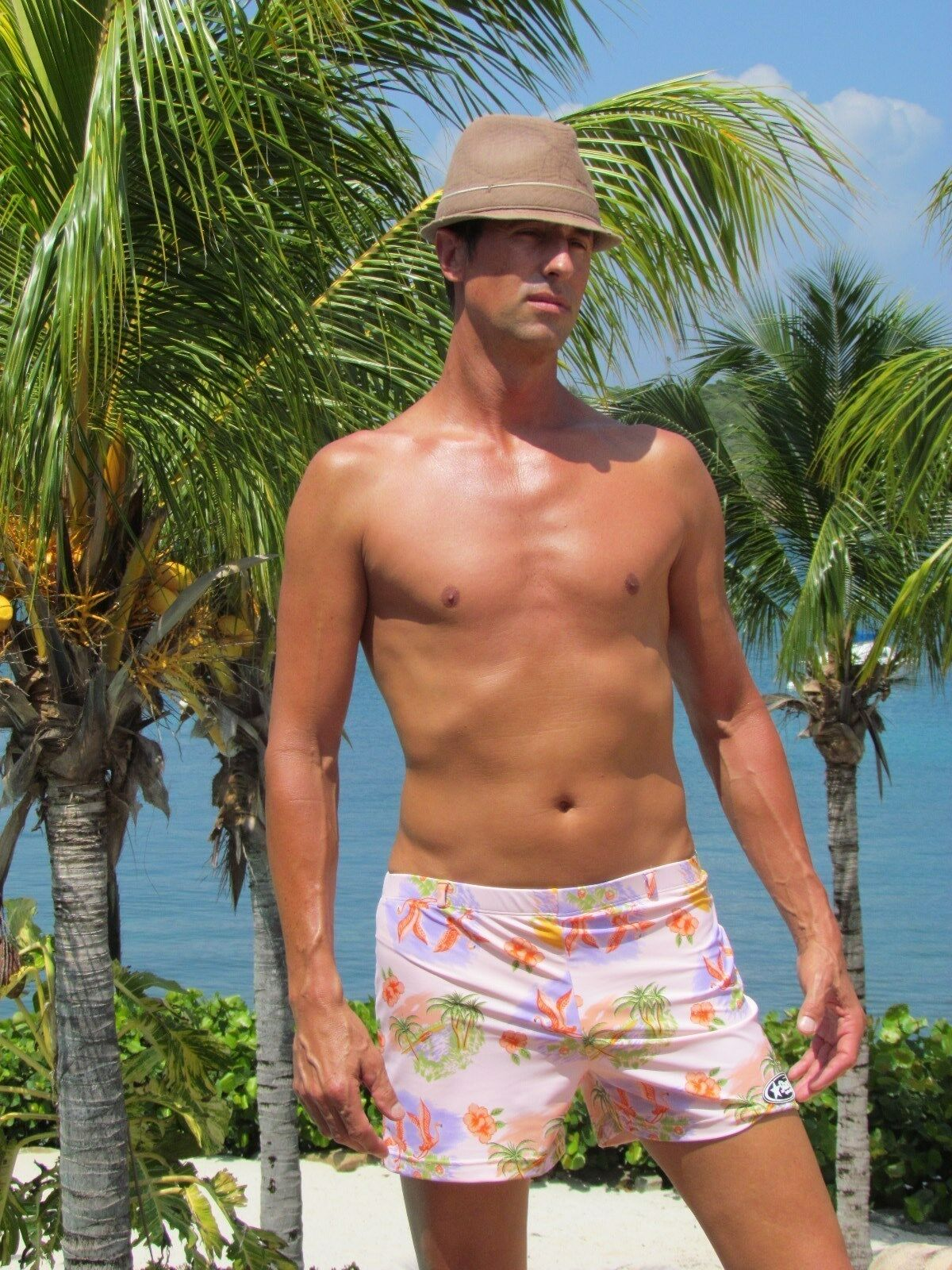 Starsuit Vintage Inspired Swim Trunks  Hawaiian Punch  Polynesian Pink Print
