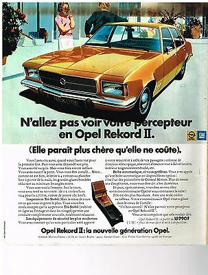 Breweriana, Beer Kind-Hearted Publicite 1973 Opel Record Ii N'allez Pas Voir Votr Percepteur....t Other Breweriana