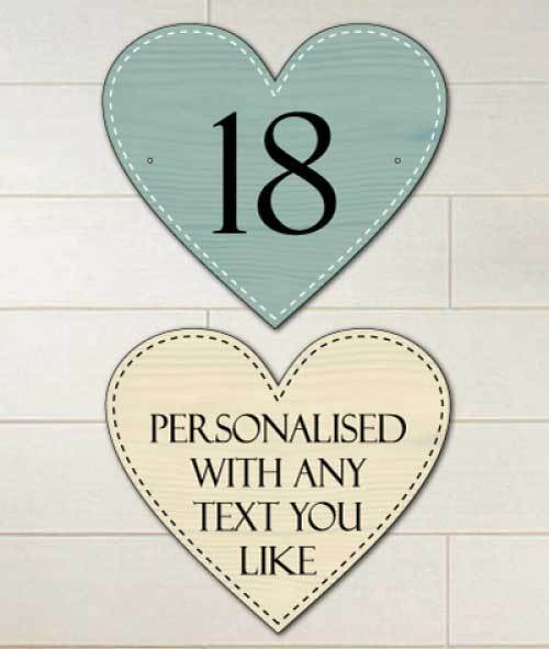 Heart Shaped Personalised Metal House Number Sign, Outdoor Sign, Unbreakable