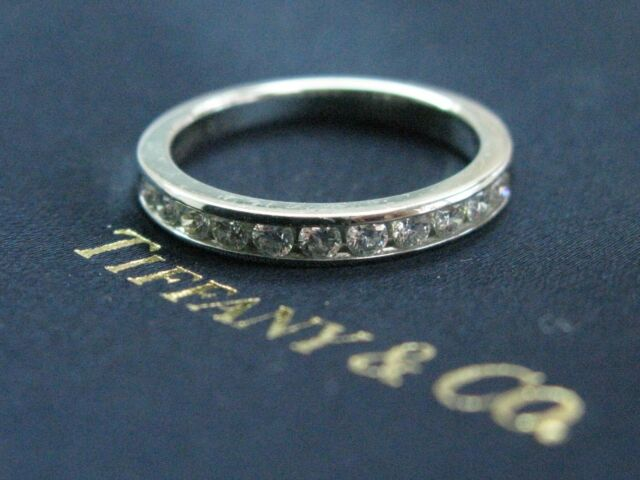 Tiffany & Co Platinum Channel-Set Half Circle Diamond Ring .33CT Size 7