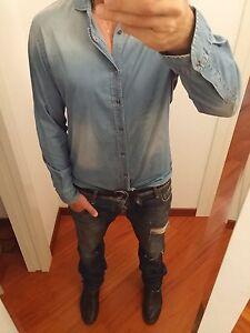 CAMICIA-JEANS-Robert-Friedman-TG-XL-52-54-jeanshemd-034-rules-plein-dsquared-034-S-S