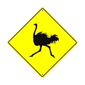 Unique Bird Decor Fun Plaque OSTRICH CROSSING Aluminum Warning Sign