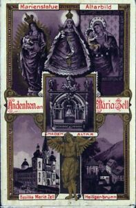 Mariazell-Pilgrimage-Old-Devotional-Picture-Holy-Icon-Austria-Steiermark-M-3530