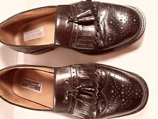 STANLEY BLACKER mens black wingtip kiltie loafers brogue leather italy 9 1/2 M