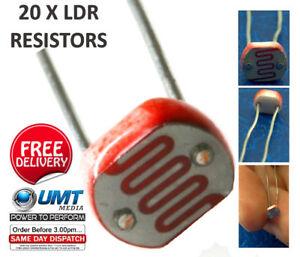 20-x-LDR-LUCE-DIPENDENTE-resistori-5mm-FOTORESISTENZA-g5528-ARDUINO-RASPBERRY-PI