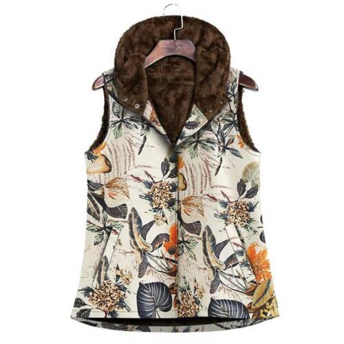 Womens Vintage Floral Warm Fur Lined Gilet Waistcoat Hooded Vest Jacket Coat