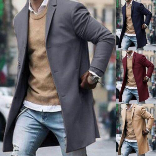 New Fashion Men/'s Wool Coat Winter Trench Coat Outwear Overcoat Long Jacket Lot