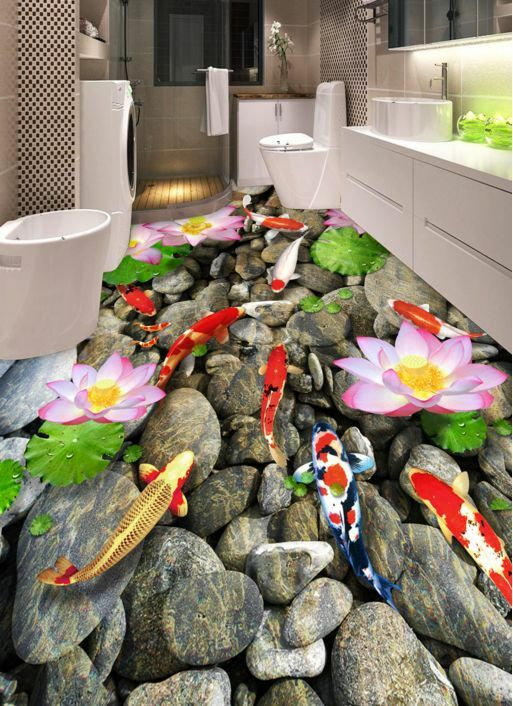 3D Pond Stone Lotus 2 Floor WallPaper Murals Wall Print Decal 5D AJ WALLPAPER