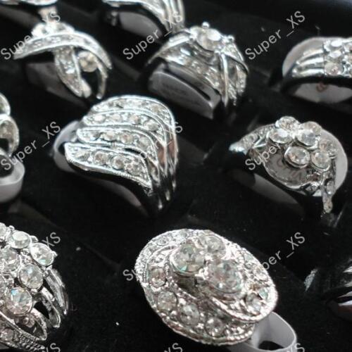 4pcs multi-strass 925 Plaqué Argent Anneaux Wholesale Jewelry Lots