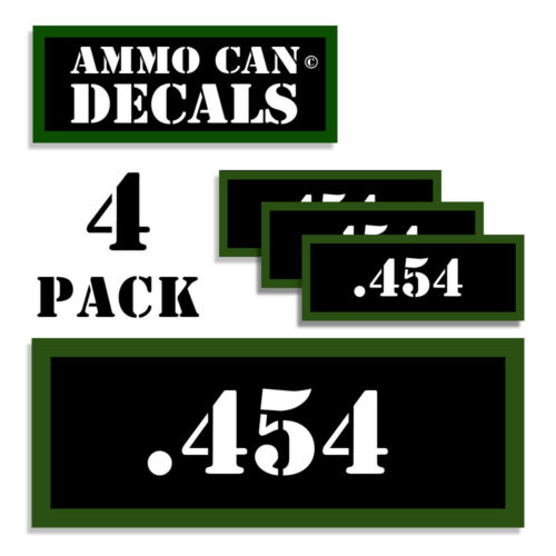 """454 Ammo Can LABELS STICKERS DECALS for Ammunition Cases 3/""""x1.15/"""" 4pack"""