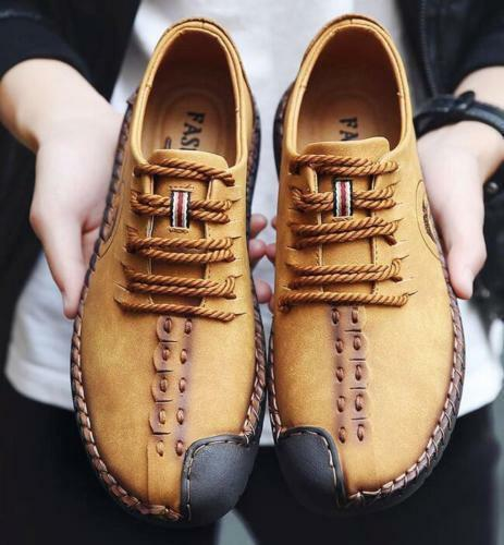 Men Retro Round Toe Lace-up Leather shoes Driving moccasin-gommino Loafers Shoes