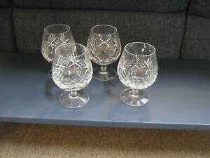 Tiffany-amp-Co-Set-Of-4-Brandy-Snifter-Glasses-Lead-Crystal-5-034-w-Box