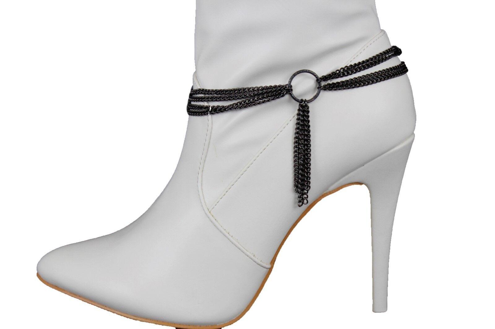 Sexy Women Boot Bracelet Black Metal Chain Anklet Shoe Center Ring Strings Charm