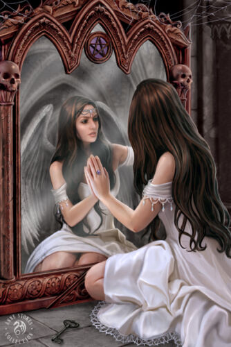 ANNE STOKES BLACK FRAMED ANGEL MAGIC MIRROR 3D MOVING PICTURE 365mm x 465mm