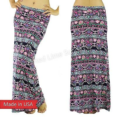 USA Women Cute Pink Aztec Geometric Pattern Multi Color Print Poly Maxi Skirt