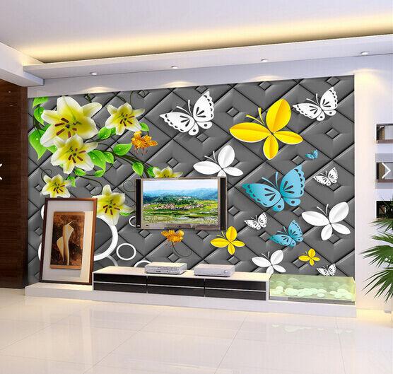 3D Bunte Schmetterlinge 21 Fototapeten Wandbild Fototapete BildTapete Familie