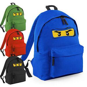 e63833f2da Caricamento dell'immagine in corso LEGO-NINJAGO-Ispirato-Borsa-NINJA-Faccia- Zaino-Scuola-