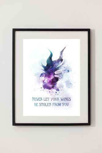 Gift Disney Wall Art ART PRINT Maleficent Quote illustration Sleeping Beauty