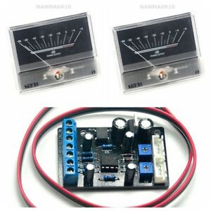 2pcs-TN90-VU-Meter-DB-Level-Header-w-1pc-Power-Supply-Driver-Board-TA7318P